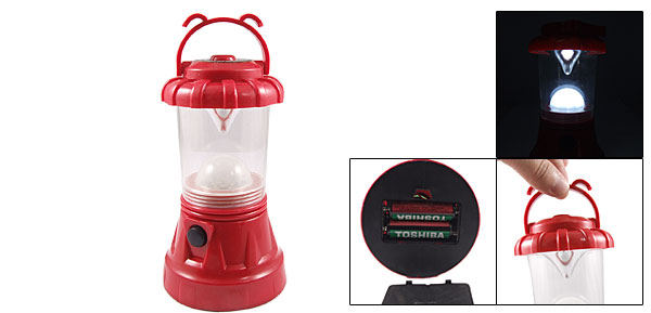 Red Plastic Housing Portable 10 LEDs White Light Camping Hiking Tent Lantern Lamp
