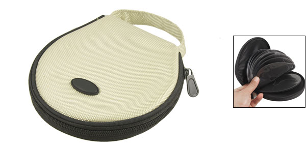 Ivory Black Nylon Zip Closure CD Storage Holder Bag for 20 Capacity