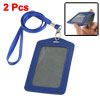 Faux Leather Badge ID Card Vertical Holders Blue 2 Pcs w Neck S...