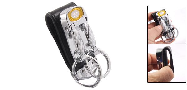 Black Wide Belt Loop Double Rings Metal Keychain Key Holder