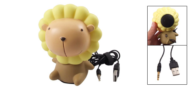 3.5mm Cartoon Lion Computer Laptop MP3 MP4 Color Changing Light Speaker