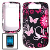 Butterfly Flower Print Rubberized Plastic Case Cover Black Fuchsia for BlackBerry Torch 9800