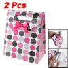 Fuchsia Bowknot Decor Colorful Dots Print Gift Paper Bag 2 Pcs