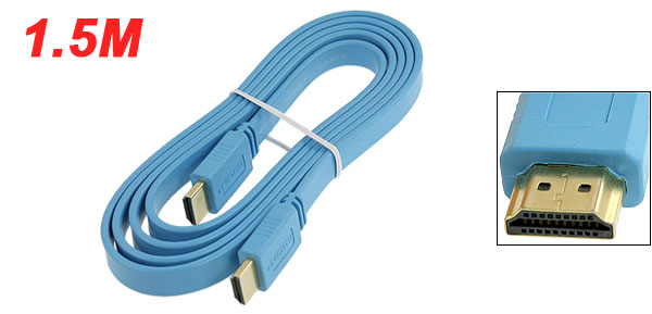 1.4 Version 1.5M Length 19 Pins Flat HDMI Male to Male Extension Cable Blue for HDTV