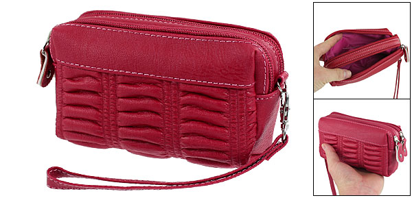 Dark Red 2 Compartments Faux Leather Zip Up Hand Bag for Women