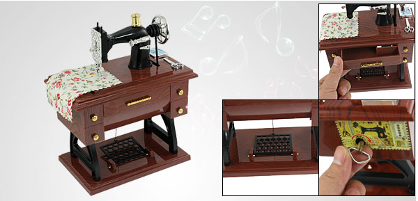 Wind Up Vintage Mini Sewing Machine Style Mechanical Music Box