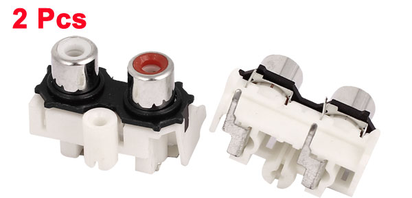 Right Angle AV Concentric Outlet Dual Female Jack RCA Socket Red 2 Pcs