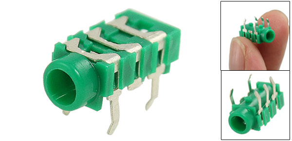 Green Silver Tone 5 Pin 3.5mm Stereo Connector Socket PCB Mount Connector