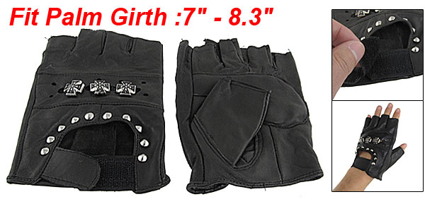 Unisex Black Faux Leather Fingerless Metal Studded Gloves