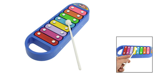 Child Blue Xylophone Metal Bar Music Maker Musical Instrument Toy