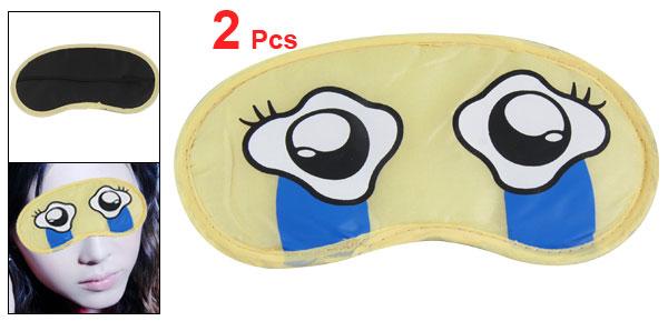 2 Pcs Travel Light Yellow White Cartoon Eyes Mask Cover w Elastic Band