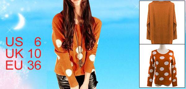 Orange Round Neck Long Sleeve Knitting Winter Sweater S for Women