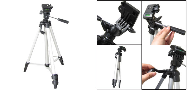 Aluminum Alloy 3 Section Telescopic Legs Tripod for Camera Camcorder 4.3Ft