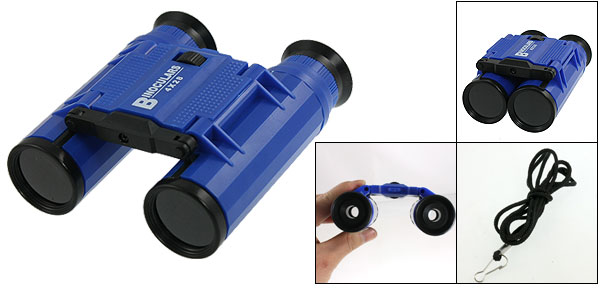 Hiking Travel 4 x 28mm Foldable Binoculars Telescope Toy Blue for Children