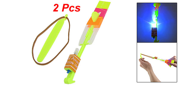 Child Rubber Band Blue LED Light Flying Yellow Arrow Helicopter Toy x 2