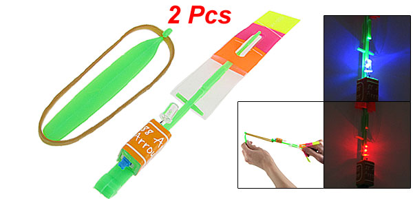 2 x Elastic Powered Green Arrow Helicopter Red Blue LED Illuminated Toy