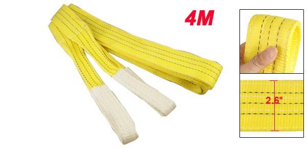 3T Straight Capacity Eye to Eye Yellow Web Lifting Tow Strap 4M 13Ft