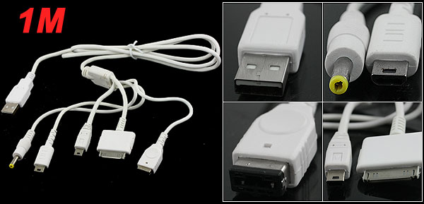 1M Length White USB 2.0 Universal Data Transform Power Cable for iPod