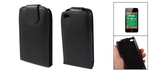 Black Faux Leather Hard Plastic Magnetic Closure Case for iPod Touch 4