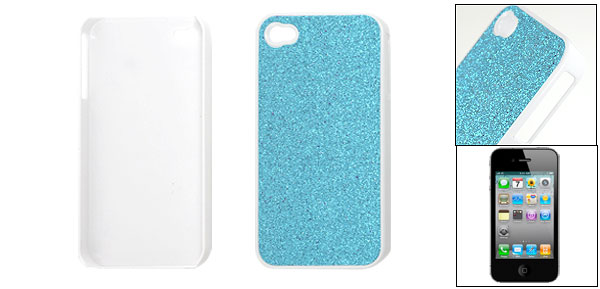 Blue Glitter Powder Coated Plastic Back Case Cover for iPhone 4 4G 4S