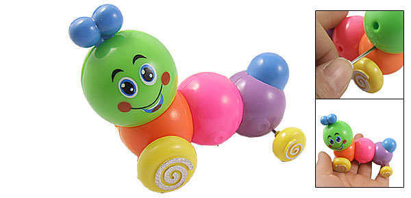 Green Head Smile Face Clockwork Worm Shape Animal Car Toy