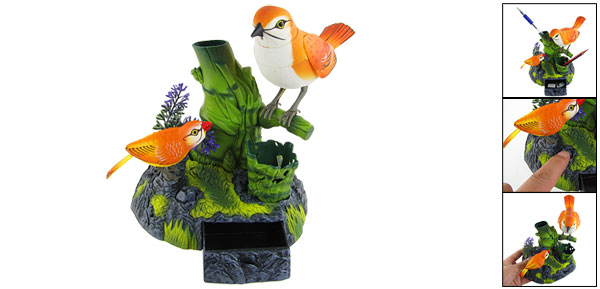 Plastic Orange Oriole-bird Pen Holder Singing Bird Desk Decor
