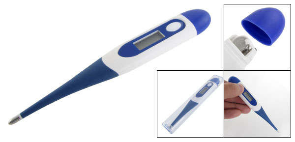 Blue White Plastic Shell LCD Display Compact Digital Thermometer 32-44C