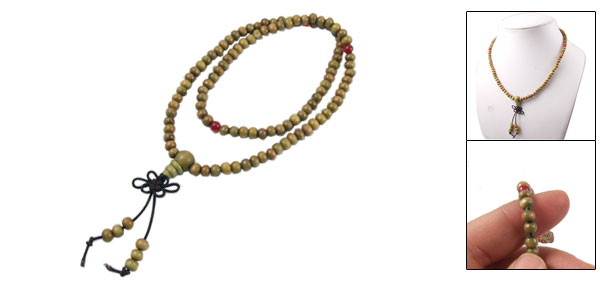 Olive Green Sandalwood 105 Prayer Beads Buddha Buddhist Mala Necklace 45cm