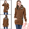 Printed Hooded Winter Coffee Color Outwear XS for Women