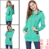 Print Hooded Cyan Blue Long Sleeve Pullover Hoodie XS for Women