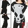 Women Long Sleeves Skull Stars Loose Tunic Shirt Black S (US 6)