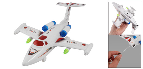 White Plastic Mini Aerobus Plane Design Pull String Along Toy for Children