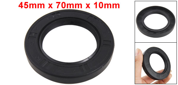 Auto Car 45mm x 70mm x 10mm Black Rubber Steel Spring Shaft Oil Seal TC