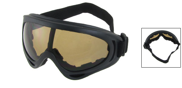 Unisex Black Adjustable Elastic Band Uni Mirror Lens Ski Snowboard Goggles Glasses