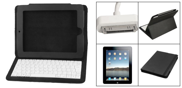 Foldable Faux Leather Case Cover Stand White Keyboard for Apple iPad 1
