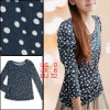 Women Dots Print Navy Blue Long Sleeve Shirt XS