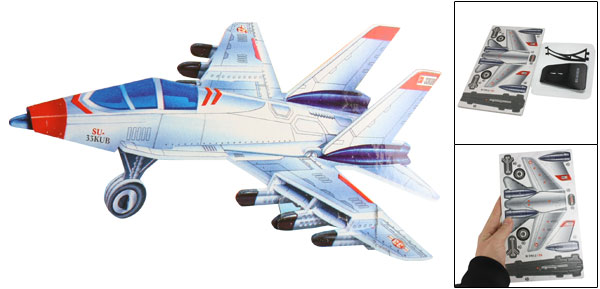 White Gray SU-33KUB Fighter Jet Model 3D Puzzle Toy w Stand for Children