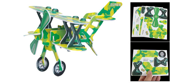 Child Camouflage Pattern 3D Biplane Model Intelligence Puzzle Toy