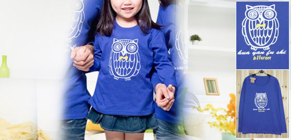 Girls Yellow White Letters Printed Blue Long Sleeve Shirt Top S