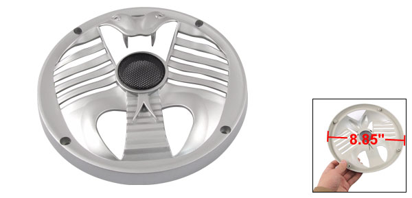 22.5cm Silver Tone Plastic Cobra-like Subwoofer Grill Speaker Cover