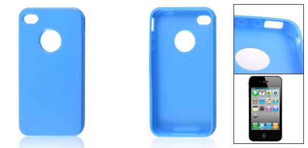 Blue Soft Plastic Case Cover Protector for iPhone 4 4G