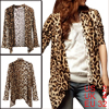 Women Leopard Pattern Front Opening Long Sleeve Autumn Coat XS