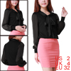 Women Tie-bow Neck Sheer Long Sleeves Chiffon Blouse Black XS