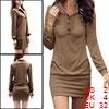 Allegra K Women Point Collar Button Upper Long Sleeves Mini Dress...