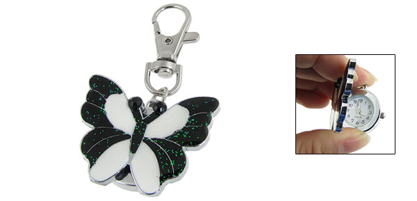Black White Butterfly Lobster Clasp Key ChainArabic Number Watch