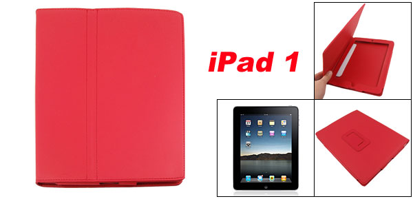 Stitched Edge Faux Leather Stand Case Cover Red for Apple iPad 1