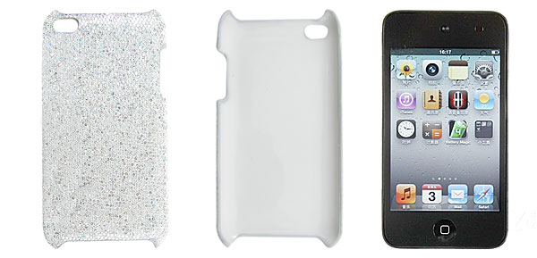 Glitter Sequin Accent Plastic Back Cover White for Apple iPod Touch 4G