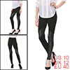 Ladies Elastic Waist Faux Leather Splicing Skinny Leggings Black ...