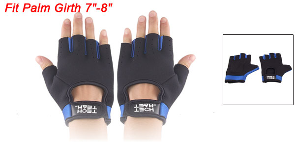 Ladies Hook Loop Fastener Black Blue Neoprene Driving Sport Gloves
