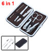 6 in 1 Black Faux Leather Case Nail Clippers File Scissors Manicu...